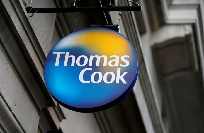 © Reuters. FILE PHOTO: A Thomas Cook sign outside one of its London stores