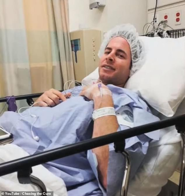 He scheduled a doctor's appointment for the next day, and was shortly after diagnosed with thyroid cancer. Pictured: El Moussa in the hospital