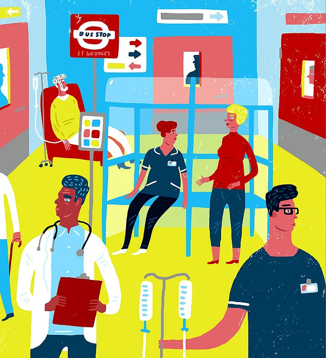 BONNIE ESTRIDGE: A few weeks ago, a bus stop appeared slap bang in the middle of the dementia ward at my local hospital, St George¿s in London