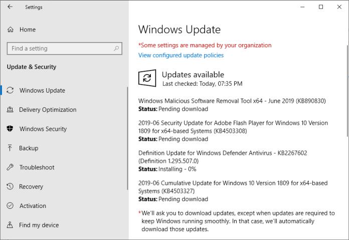 Microsoft Windows Security Updates June 2019 overview