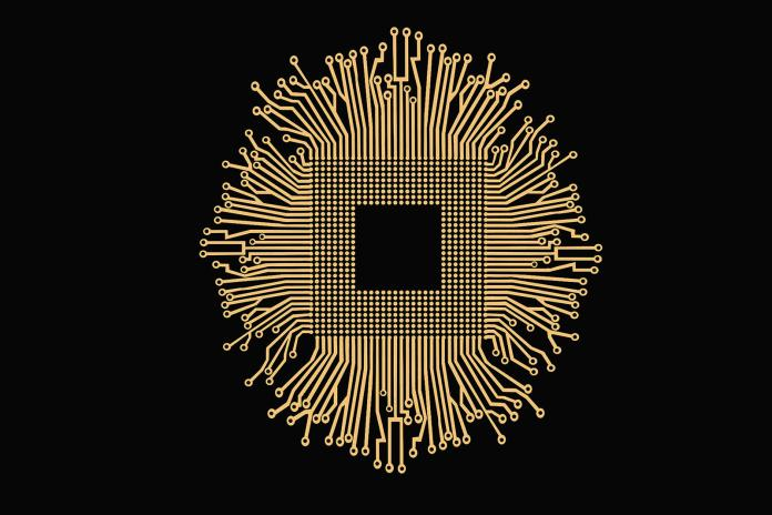 Golden electronics circuit and CPU isolated on black background