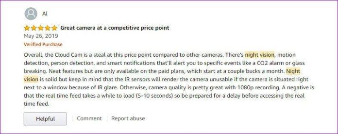Amazon Cloud Cam Night Vision