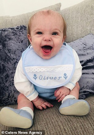 Oliver was a healthy, happy baby until a throat infection developed into sepsis earlier this year