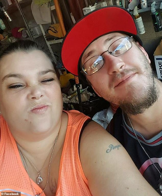 Sean went to Jordan Valley Hospital, where he was diagnosed with lipid pneumonia, a rare condition in which fat particles inflame the lungs. Pictured: Sean, right, with his wife, Tiffani