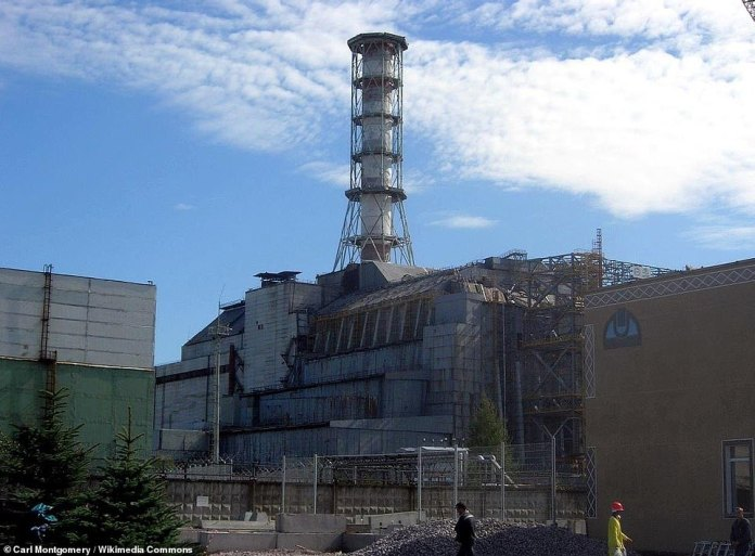 A hastily constructed steel and concrete 'sarcophagus' (pictured) built to contain fallout from the 1986 Chernobyl nuclear disaster is being dismantled - before it collapses