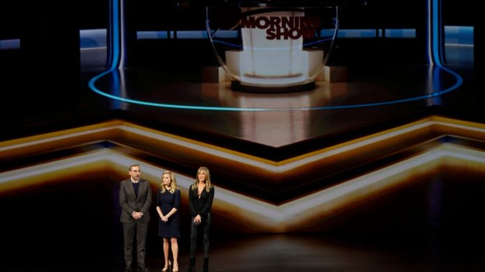 The Morning Show stars Steve Carell, Reese Witherspoon, and Jennifer Aniston at an Apple event in March 2019.