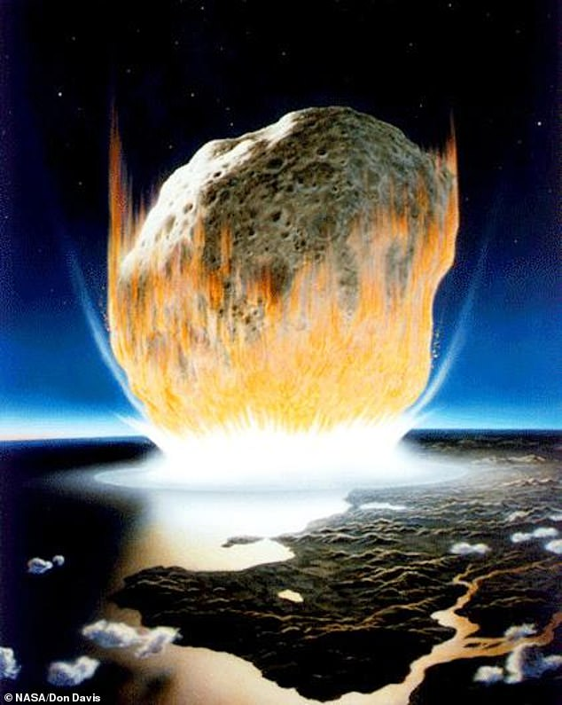 The asteroid which wiped out the dinosaurs (illustrated) is believed to have been between six and 10 miles wide (10-15km) and travelling at a speed of around 44,000 miles per hour (70,000kmh)