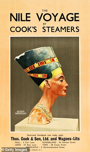 A poster promotes a trip along the Nile, accompanied by an image of a bust of Queen Nefertiti, 1930