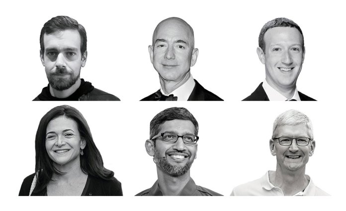 The heads of Big Tech—Barry Lynn's nemesis. Top row, from left to right: Twitter CEO Jack Dorsey (Rory Cellan/Flickr), Amazon CEO Jeff Bezos (Allen Berezovsky/WireImage), Facebook CEO Mark Zuckerberg (Taylor Hill/Getty); Bottom row, from left to right: Facebook COO Sheryl Sandberg (Drew Angerer/Getty), Google CEO Sundar Pichai (David Paul Morris/Bloomberg), Apple CEO Tim Cook (Drew Angerer/Getty).
