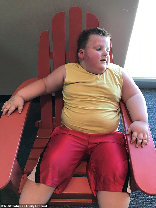Peter Leonard weighs 115lbs despite only being four years old and his mother is convinced he has the genetic condition Prader-Willi syndrome