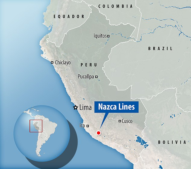 Geoglyphs span large land tracts located between the towns of Palpa and Nazca in Peru