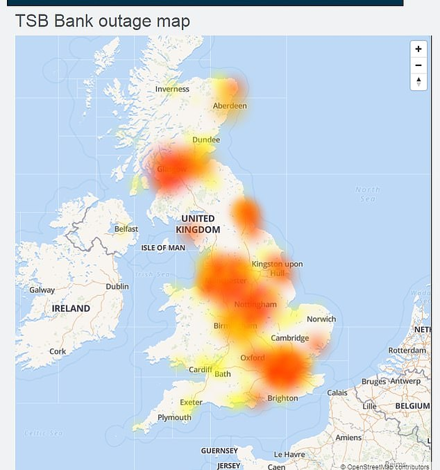 TSB said it was a payments issue - but Downdetector said there were problems all over the UK and also with the app and internet banking functions this morning