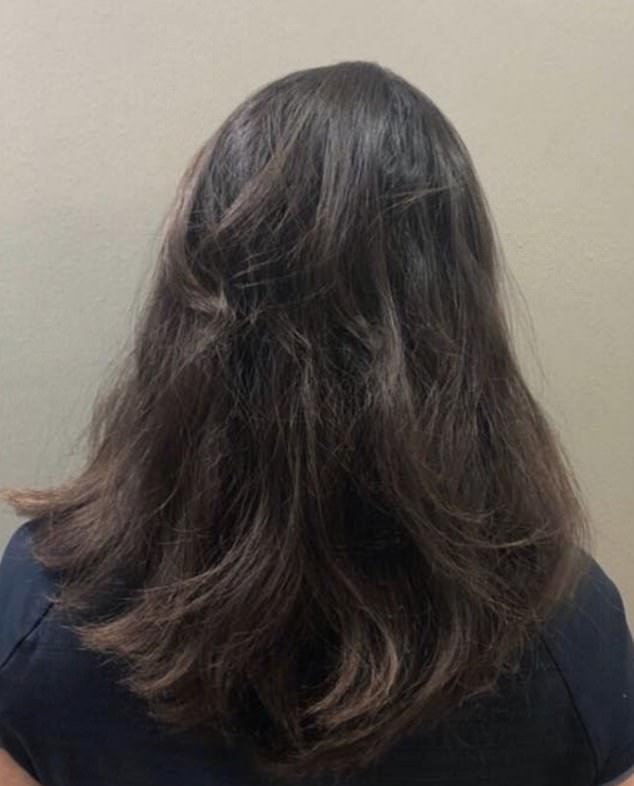 The girl is in a small minority of people who had her whole head of hair grow back after suffering withalopecia areata. Pictured, her hair after 19 months
