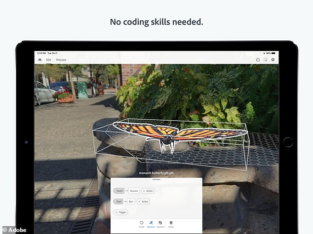 Adobe Aero (pictured above) will let users design and share their own custom augmented reality experiences using a simple drag and drop interface