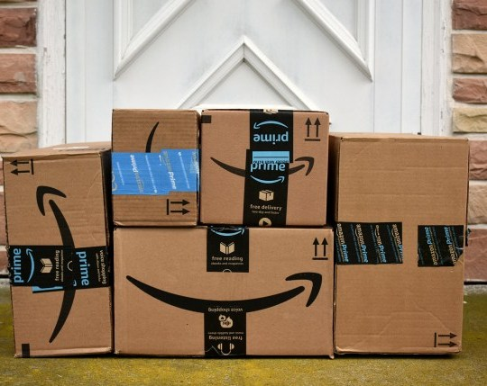 HAGERSTOWN, MD, USA - MAY 5, 2017: Image of an Amazon packages. Amazon is an online company and is the largest retailer in the world.