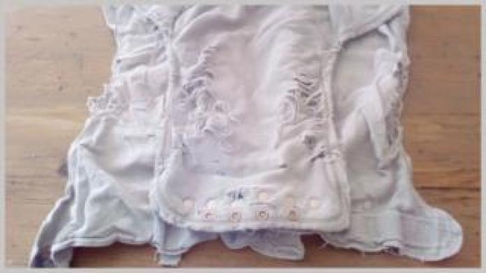 A nappy used by Katie Holden's nine children