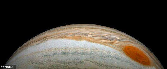 A new view of Jupiter's Great Red Spot (pictured above), captured by NASA's Juno probe as it made a dramatic thrust procedure to avoid Jupiter's shadow
