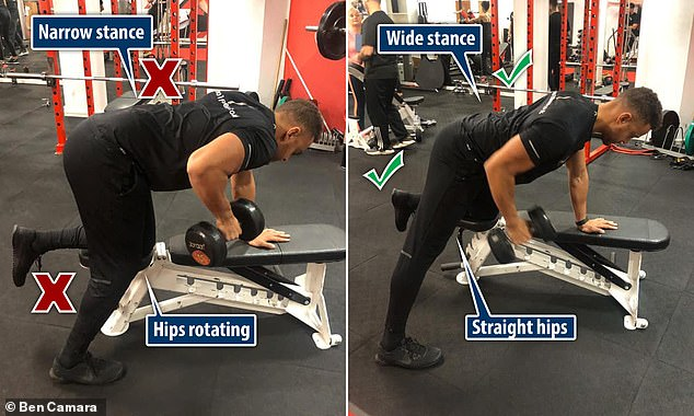 Wrong: If the stance during a single arm row is too narrow, it can cause the hips to rotate. Correct: Widening the stance will help to keep the hips straight