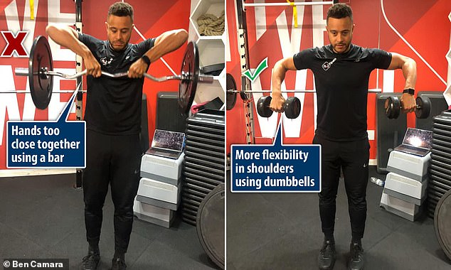 Wrong: When the hands are too close together on a bar, there is less mobility in the shoulder. Correct: Using dumbbells allows for flexibility