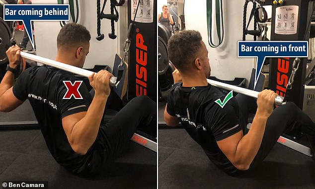 Wrong: Pulling the bar behind the neck causes strain as you push the head forward. Correct: The bar comes to the front of the chest