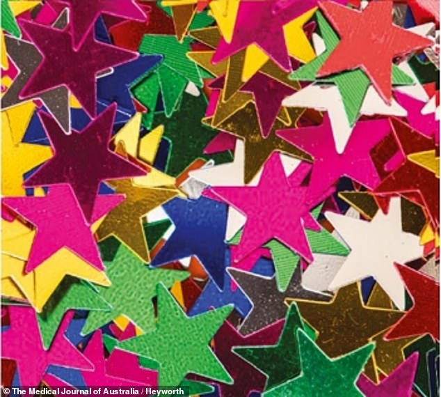 Writing in the Medical Journal of Australia, the doctors said: 'Despite their flexible nature, the sharp points of confetti stars appear to increase the risk of lodgement in the upper aerodigestive tract'