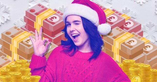 girl in santa hat with money backdrop