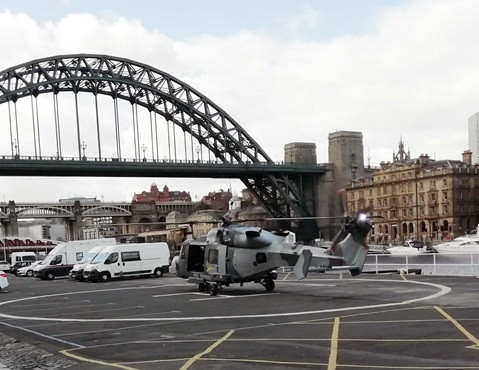 The Wildcat chopper landed in a car park near the Tyne Bridge