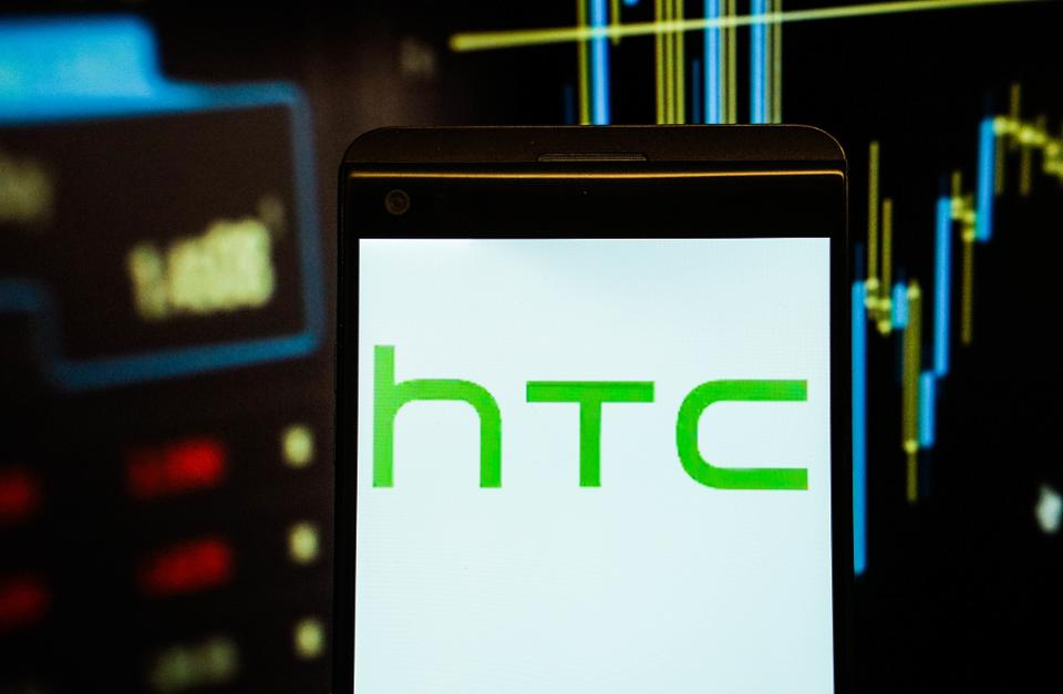 The logo of  HTC is seen in a smartphone