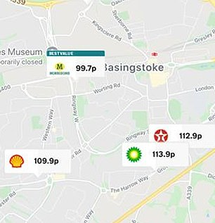 This map shows the huge difference between Morrisons and other fuel retailers in Basingstoke, with the supermarket priced way below suppliers Shell, BP and Texaco