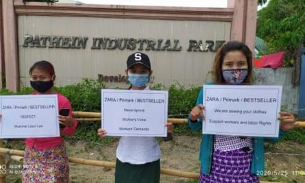 Protestors outside the Huabo Times factory.