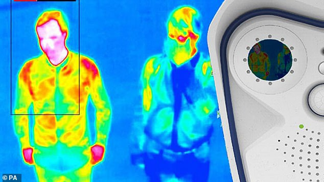 Menopausal women are feared to be unfairly denied entry to airports, pubs and restaurants if they get their temperature checked by scanners. Heathrow has started trialling temperature screening of passengers (pictured)