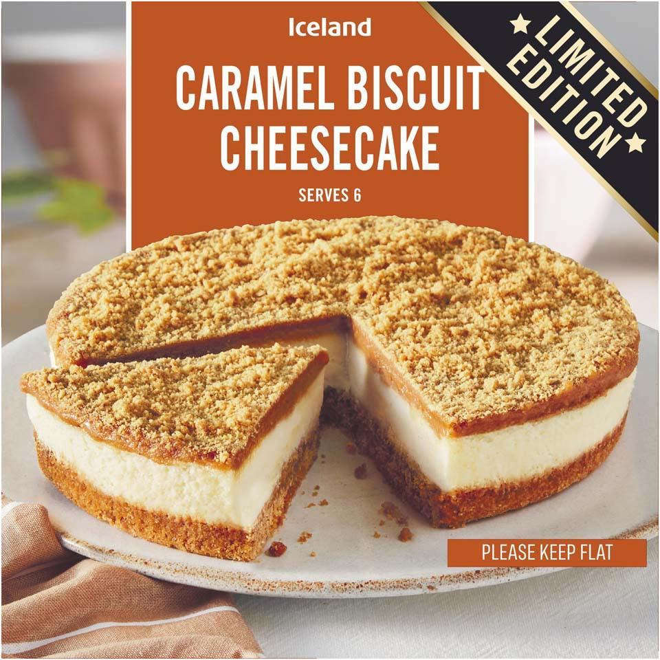 Treat yourself to a limited edition Biscoff-flavour caramel biscuit cheesecake from Iceland