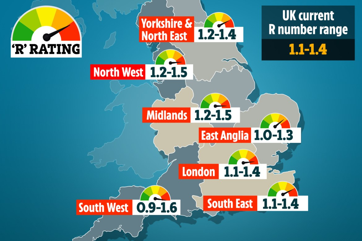 The map above shows the government's current R rate estimates