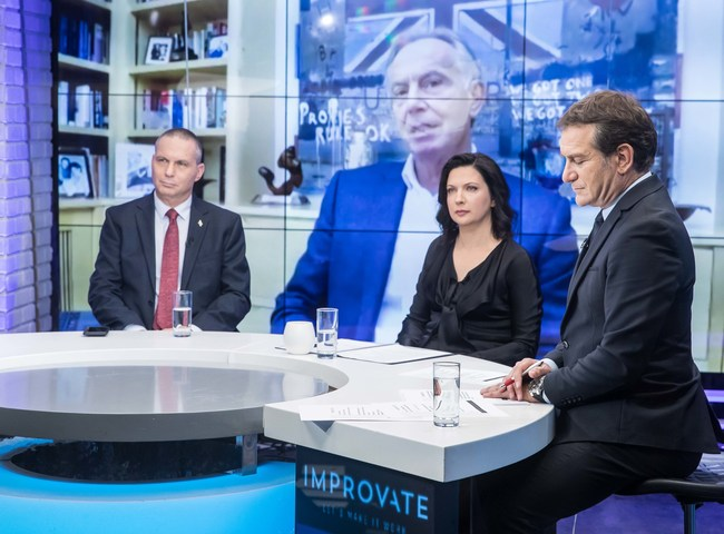 Israel Minister of Science & Technology, Yizhar Shai; The former Prime Minister of the United Kingdom, Mr. Tony Blair; and Irina Nevzlin, founder of IMPROVATE (credit: Oded Karni) (PRNewsfoto/IMPROVATE)