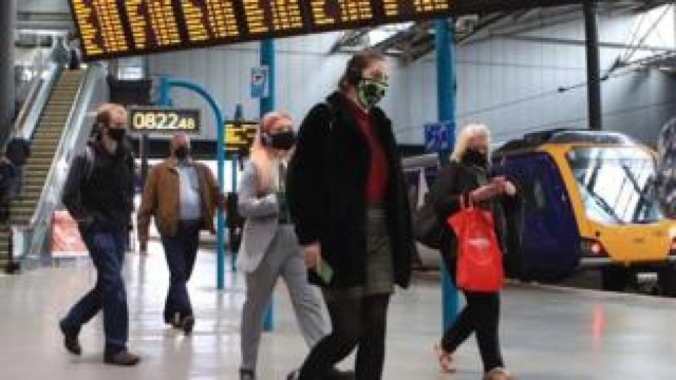 Commuters at Leeds railway station