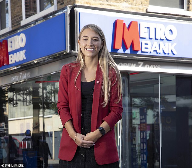 Care: Hounslow Metro Bank manager Philippa Webb even makes trips to customers¿ homes if they are shielding