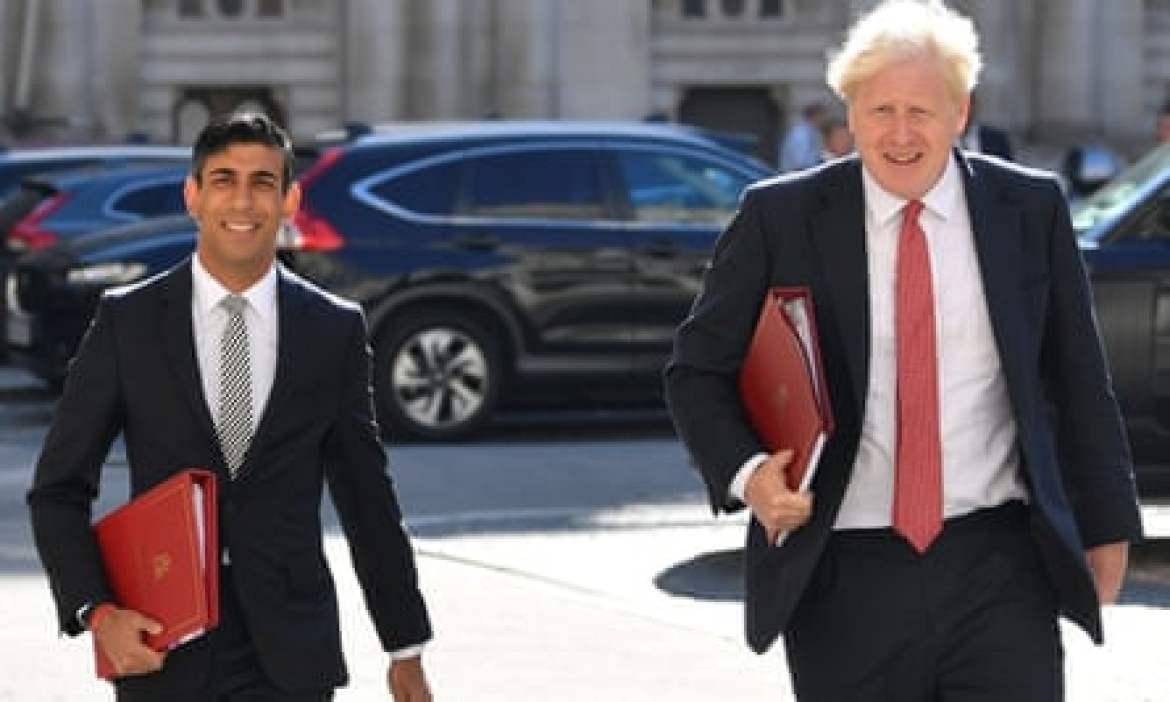 Chancellor Rishi Sunak and Boris Johnson on their way to attend a cabinet meeting.