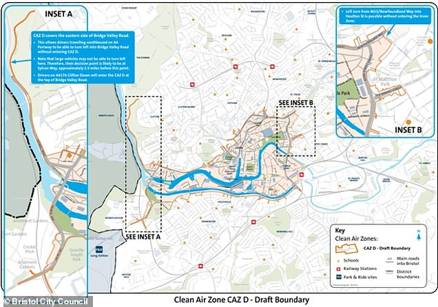 Two options are being put to the public for a CAZ in Bristol. The first is a smaller zone where older, more polluting vans and private cars would pay to drive in the zone