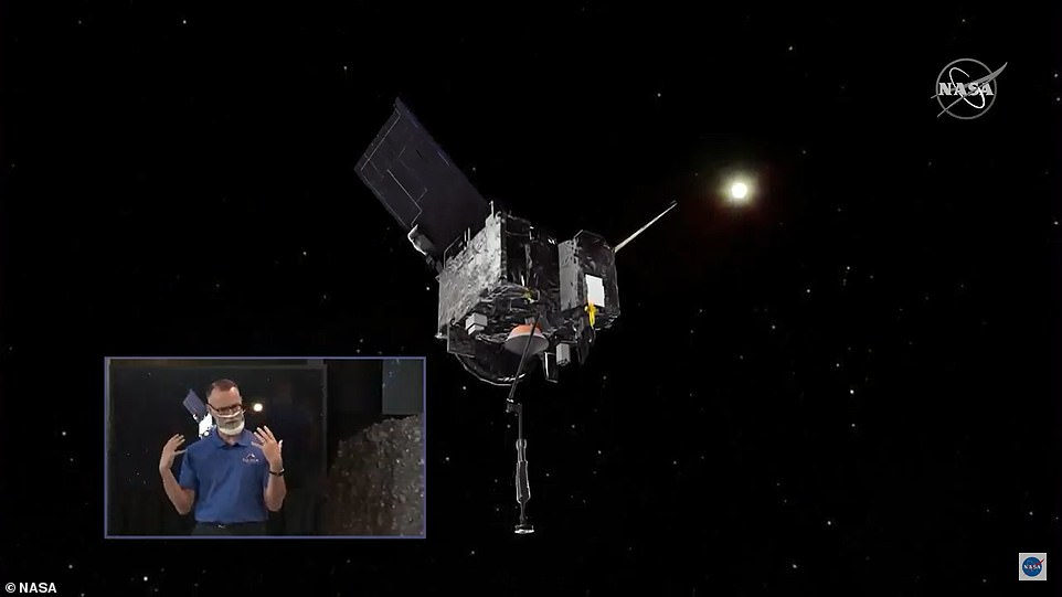 A simulation view of the van-sized OSIRIS-Rex above descending towards the asteroid.The mission was programmed in advance and the spacecraft was instructed to operate autonomously during the unprecedented touch-and-go maneuver. With an 18-minute lag in radio communication each way, ground controllers for spacecraft builder Lockheed Martin near Denver couldn't intervene if anything went awry
