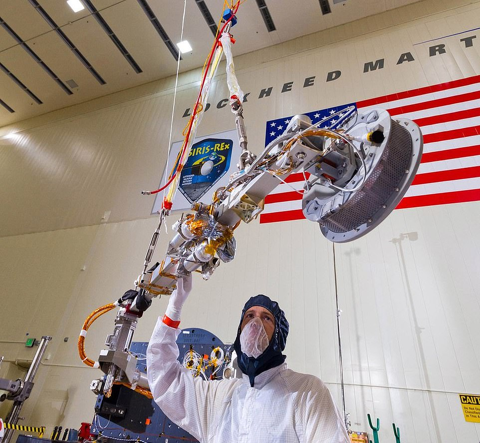 This is the ft-long TAG robotic arm which NASA used to briefly touch the asteroid Bennu as part of its daring high-speed manoeuvre