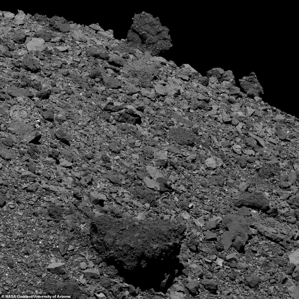 A close up view of the asteroid Bennu above. Bennu is located more than 200 million miles away from planet Earth.OSIRIS-REx, was launched four years ago in September 2016 to collect data and samples from the rare B-type asteroid. B-type asteroids are primitive meaning they haven't changed much since Earth was formed 4.5billion years ago and they could contain carbon-based organic molecules that are similar to the very ones that led to life on Earth