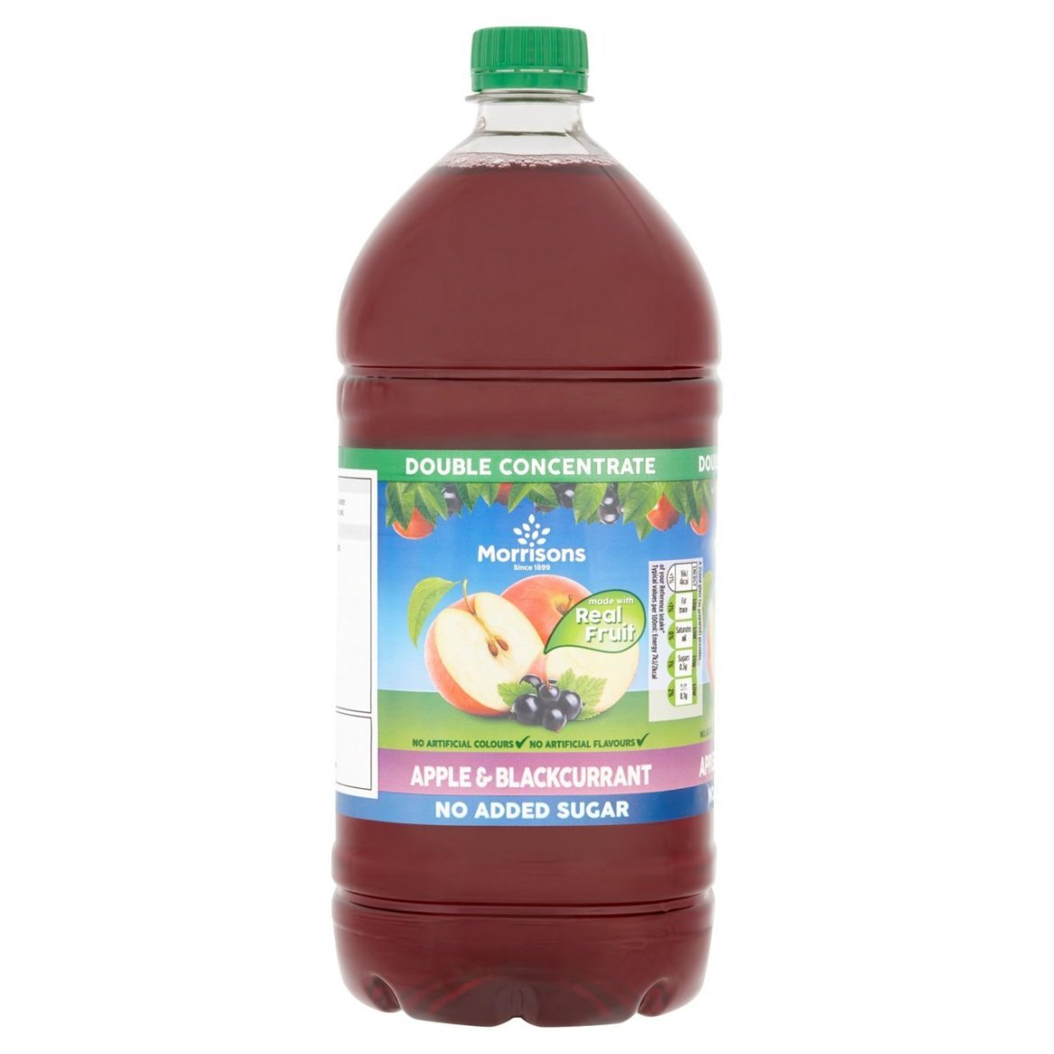 A bottle of Morrisons No Added Sugar Apple & Blackcurrant squash is currently on offer for 89p