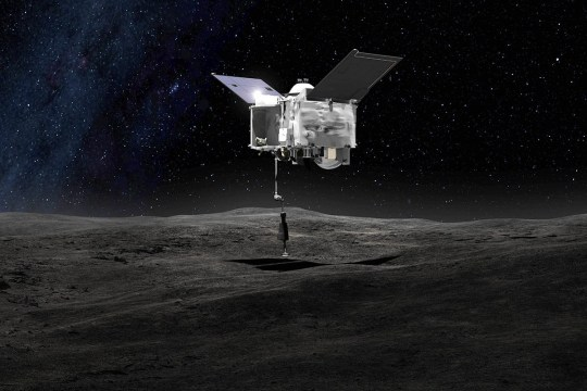 This artist's concept shows the Origins Spectral Interpretation Resource Identification Security - Regolith Explorer (OSIRIS-REx) spacecraft contacting the asteroid Bennu with the Touch-And-Go Sample Arm Mechanism or TAGSAM. The mission aims to return a sample of Bennu's surface coating to Earth for study as well as return detailed information about the asteroid and it's trajectory. (Picture: NASA's Goddard Space Flight Center)