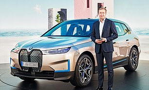 Apology: BMW CEO Oliver Zipse with the new£85,000 iX electric SUV