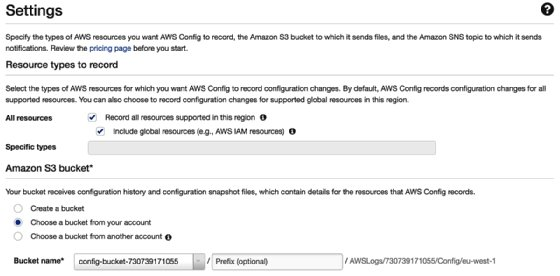 Screenshot of AWS Config configuration recorder settings