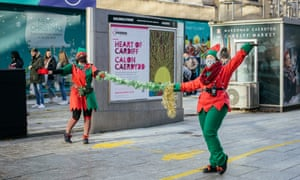 The 'elf and safety' squad in Cardiff city centre.