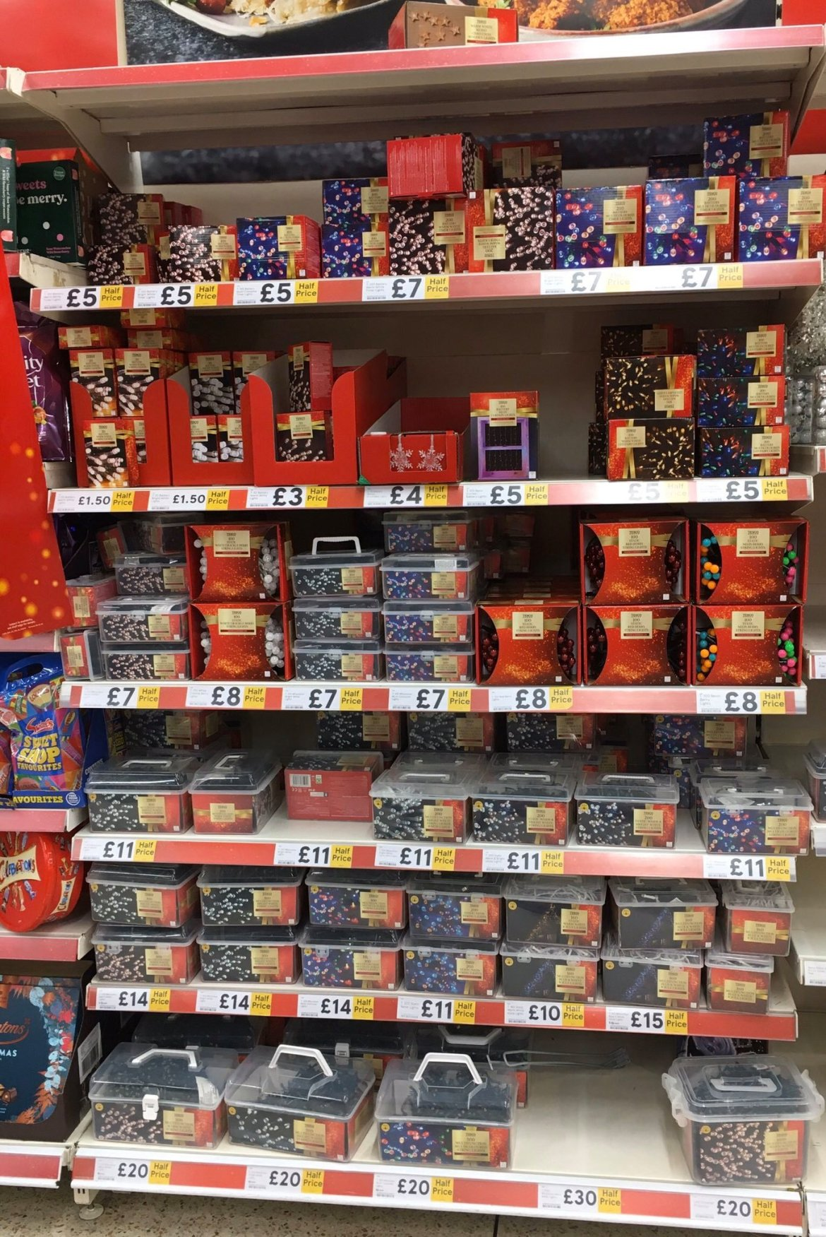 The supermarket has slashed the prices of its Christmas lights by up to 50% in store and online