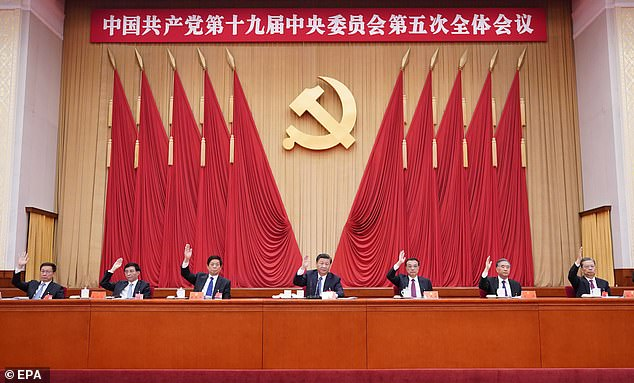 Chinese president Xi Jinping (centre) at a communist party central committee meeting last week.  China is aiming to dominate fields such as artificial intelligence and microchips