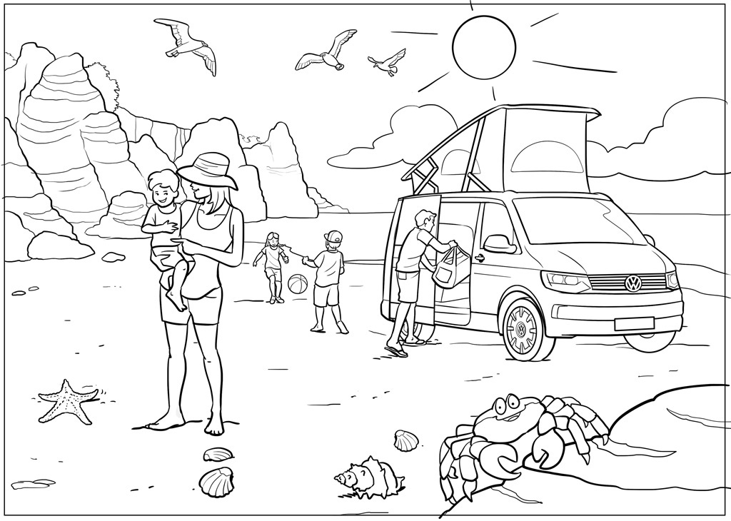 Print out and colour in this camper van and send a photo of your efforts to motors@the-sun.co.uk to win a £49.99 Playmobil T1 camping bus