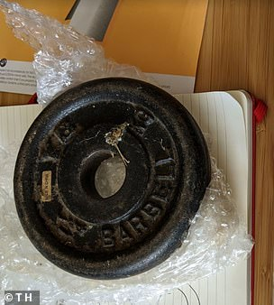 The weight that was sent in the post to the eBay seller by the buyer amidst the dispute